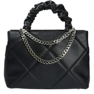 RENE BLACK QUILTED LEATHER LARGE BAG