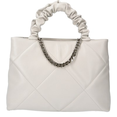 RENE PEARLY GREY QUILTED LEATHER LARGE BAG