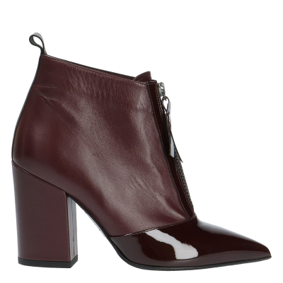 CÉLINE LEATHER AND PATENT LEATHER ANKLE BOOTS, SIZE 37, SAMPLE PRICE