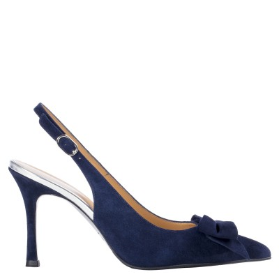 Navy blue suede pumps