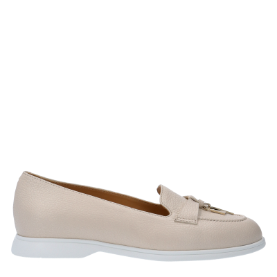 MOCASSINO YVONNE 	TAPIOCA-COLOURED TEXTURED LEATHER