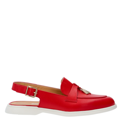 MOCASSINO YVONNE 	RED LEATHER SLING BACK
