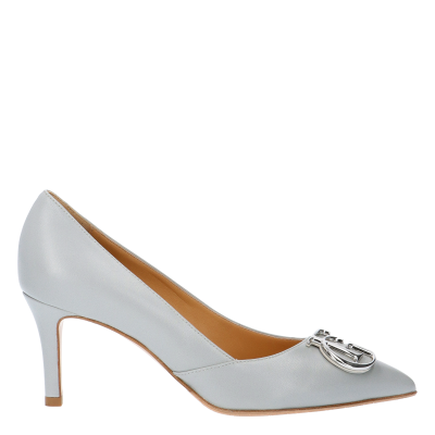 RUBY PEARLY GREY LEATHER PUMPS WITH MAXI LOGO