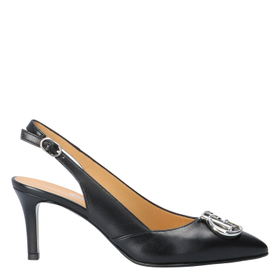 RUBY BLACK LEATHER SLINGBACK PUMPS WITH MAXI LOGO