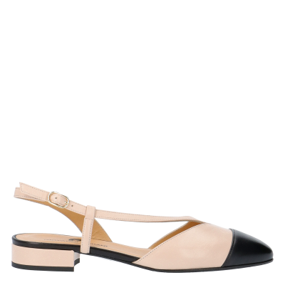 AZZURRA TWO-TONE LEATHER SLINGBACK PUMPS