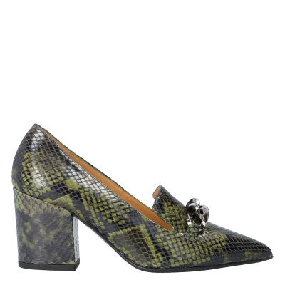 Snake-printed leather Anaelle moccasins
